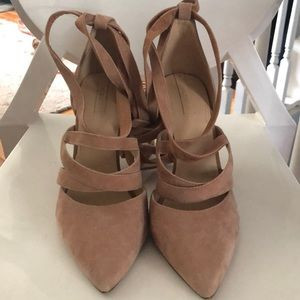 Blush pink also suede ankle wrap heel